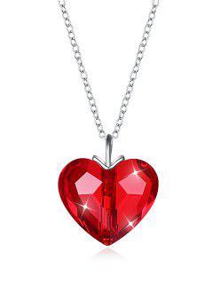 Collar Romántico De Corazón De Cristal - Rojo