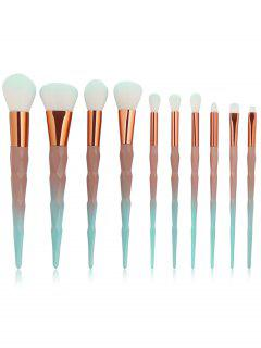 Cosmetic 10Pcs Synthetic Fiber Hair Travel Makeup Brush Set - Multi