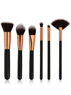 Cosmetic 6Pcs Wooden Handles Travel Makeup Brush Set - Black