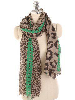 Leopard Print Lightweight Winter Scarf - Medium Spring Green
