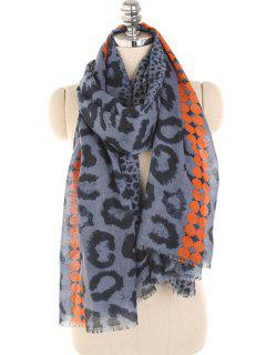 Leopard Print Lightweight Winter Scarf - Lapis Blue