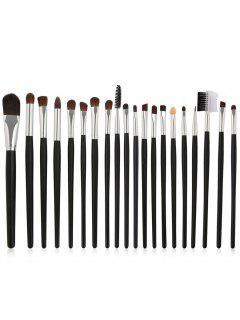 20Pcs Wooden Handles Ultra Soft Eye Makeup Brush Suit - Black