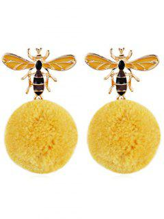 Cute Flying Bee Fuzzy Ball Drop Earrings - Sun Yellow