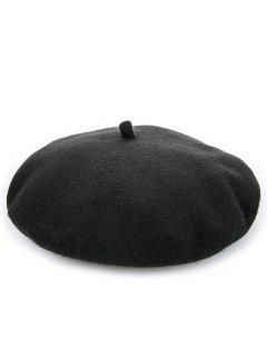 Elegant Solid Color Winter Beret - Black