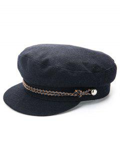 Solid Color Winter Flat Top Hat - Black