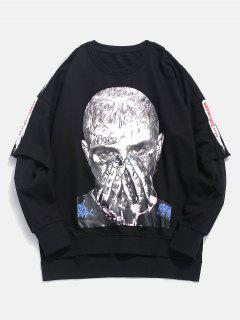 Portrait Graphic False Two Piece Sweatshirt - Black M