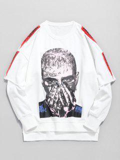 Portrait Graphic False Two Piece Sweatshirt - White M