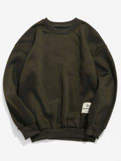 Patch Detail Solid Fleece Sweatshirt - Army Green S