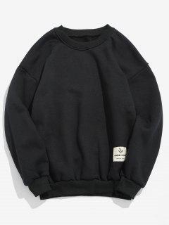 Patch Detail Solid Fleece Sweatshirt - Black M