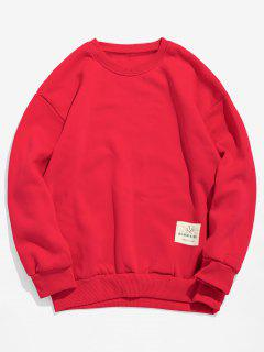 Patch Detail Solid Fleece Sweatshirt - Lava Red M