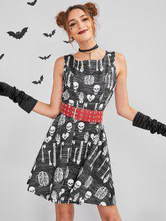 ZAFUL Skull Mini Halloween Costume Skater Dress - Black L
