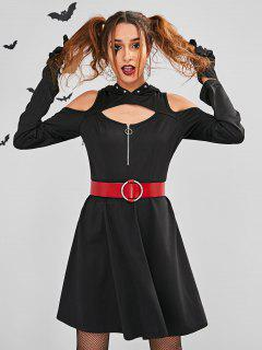 ZAFUL Cut Out Halloween Kostüm Skater Kleid - Schwarz M