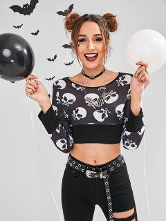 ZAFUL Skull Print Halloween Cropped Sweatshirt - Black S