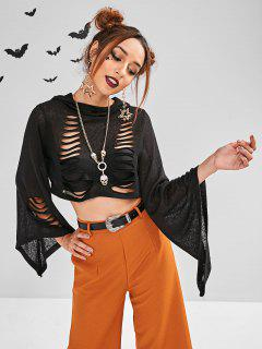 ZAFUL Slashed Bell Sleeve Halloween Cropped Sweater - Black M