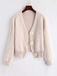 Oversize Buttons Cropped Fluffy Cardigan - Beige