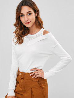 Cold Shoulder Plain Knitted Top - White M