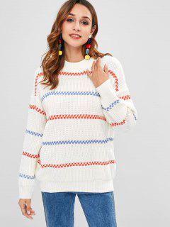 Tunic Striped Panel Pullover Sweater - White
