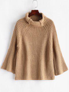 Turtleneck Raglan Sleeve Chunky Sweater - Tan