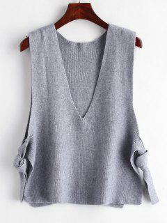 Plunging Drop Armhole Sweater Vest - Light Slate Gray