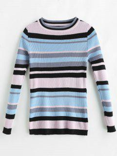 Colorful Stripes Ribbed Sweater - Multi