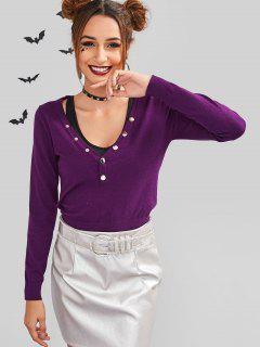 ZAFUL Snap Button V Neck Sweater - Dark Orchid S