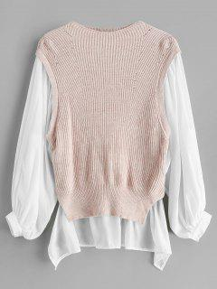 High Low Color Block Langer Pullover - Schwein Rosa S