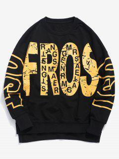 Streetwear Asymmetrical Hem Letter Sweatshirt - Black L