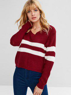 Striped V Neck Knit Sweater - Red Wine