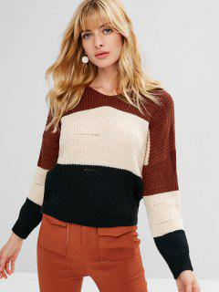 Color Block Hooded Chunky Sweater - Beige