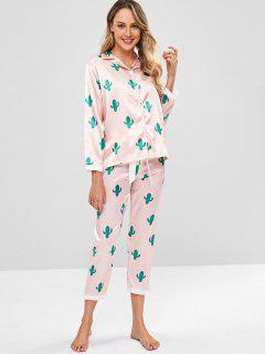 Cactus Shirt And Pants Satin Pajama Set - Light Pink