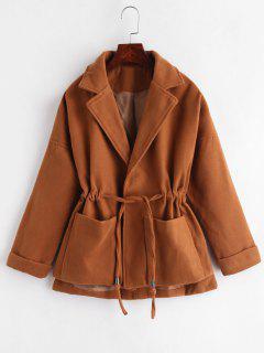 Lapel Patch Pockets Faux Wool Coat - Brown Xl