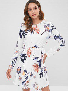 Long Sleeve Floral A Line Dress - White L