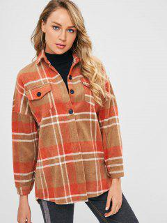 Plaid Longline Woolen Coat With Pockets - Multi