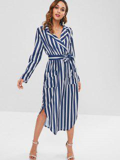 Long Sleeve Shirt Midi Dress - Multi L