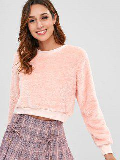 Crewneck Fluffy Cropped Sweatshirt - Orange Pink S