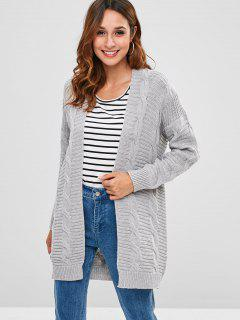 Cable Open Front Knit Cardigan - Gray