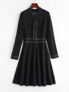 A Line Long Sleeve Dress With Bowknot - Black Xl