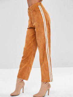 Stripes Trim Corduroy  Pants - Caramel M