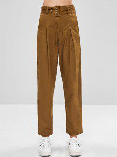 Belted High Waisted Chino Pants - Light Brown L