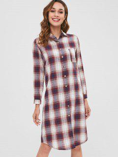 Checked Long Sleeve Midi Shirt Dress - Multi