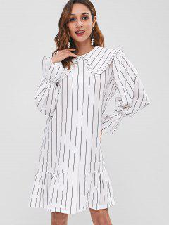Wide Collar Striped Ruffle Shirt Dress - White L