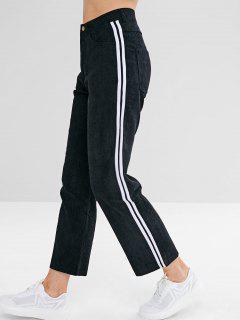 Stripes Trim Corduroy  Pants - Black S