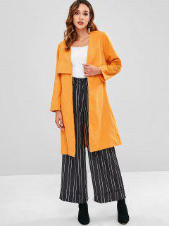 Back Slit Belted Trench Coat - Bee Yellow M