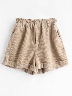 Cuffed Corduroy Shorts - Tan S