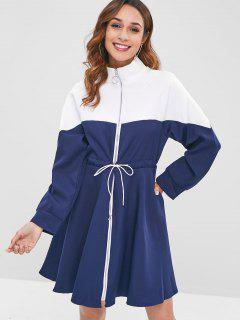 Drawstring Waist Color Block Zip Dress - Cadetblue