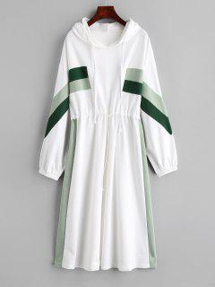 Robe Mi-mollet à Capuche Et épaules Dénudées - Blanc