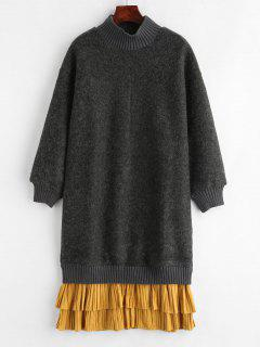 Flounce Ribbed Panel Long Sleeve Sweatshirt Dress - Multi