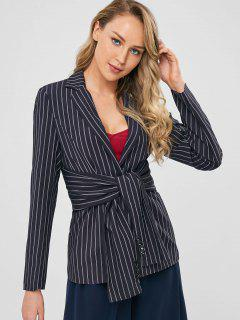 One Button Striped Knotted Blazer - Black S