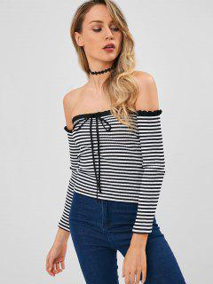 Off The Shoulder Ribbed Striped Top - Black