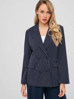 Double Breasted Pockets Striped Blazer - Dark Slate Blue M
